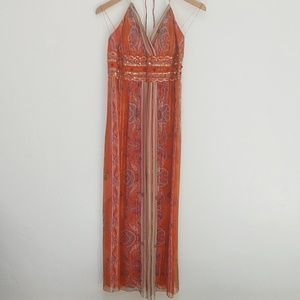 MUSE SILK BEADED BOHO HALTER MAXI DRESS - 8